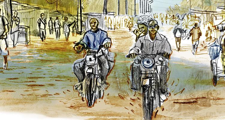 Illustration : Sur la route entre Bangui et Boda (© Damien Roudeau - 2017)